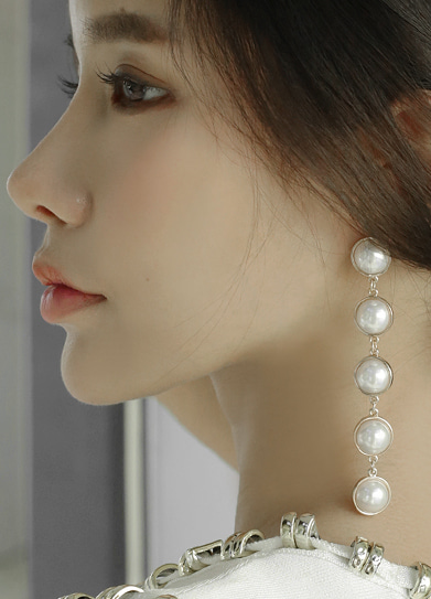 [handmade] pearl long drop earring